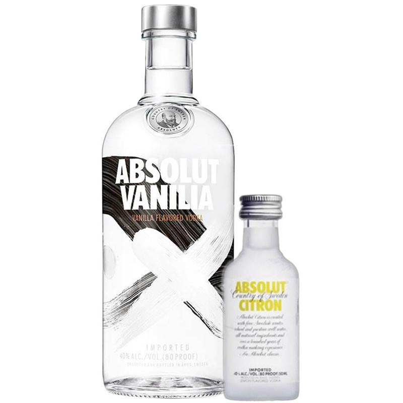 Kit Vodka Absolut Vanilla 750ml + Absolut Citron 50ml.