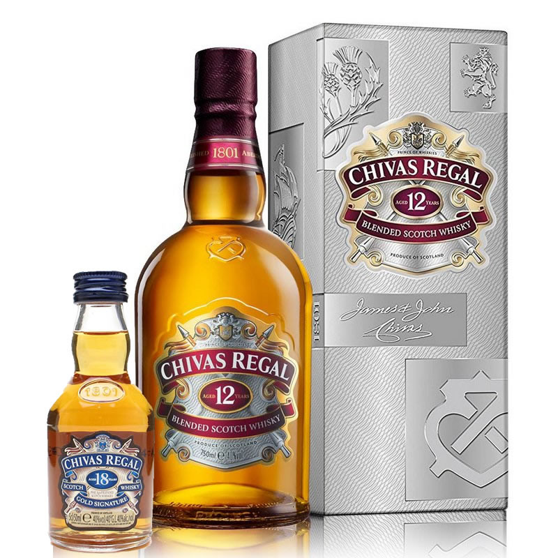 Kit Chivas Regal 12 Anos Litro + Chivas Regal 18 Anos 50ml (miniatura)