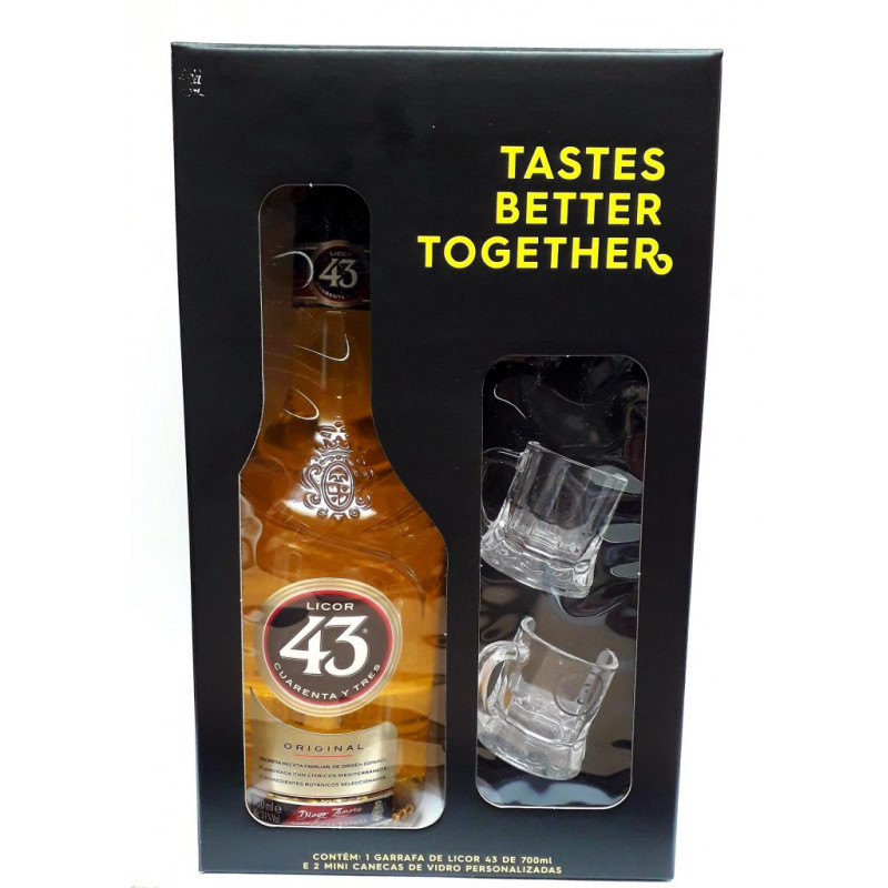 Kit Licor 43 de 700 ml + 2 Mini Canecas Personalizadas