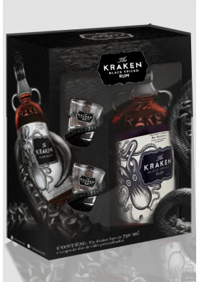 Kit Rum Kraken + 2 copos Shot 750 ml