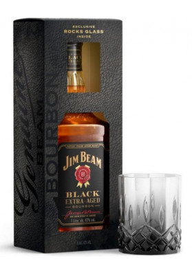 Kit Jim Beam Black Bourbon 1000 ml + Copo Vidro Personalizado