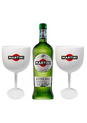 Kit 1 Martini Extra Dry 750ml + 2 Taça acrílico personalizada
