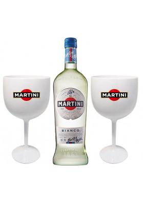 Kit 1 Martini Bianco 750ml + 2 Taças de acrílico personalizadas