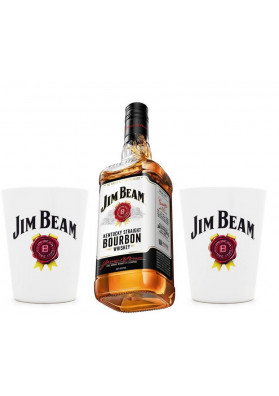 Kit 1 Jim Beam Original 1000ml + 2 Copos Personalizado
