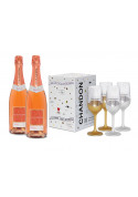 Kit 2 Chandon Passion Rosé On Ice 750ml + 1 Box com 4 taças