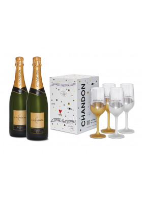 Kit 2 Chandon Reserve Brut 750ml + 1 Box com 4 taças