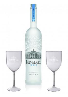 Kit Vodka Belvedere Pure 700 ml + 2 Taças de acrílico Personalizado